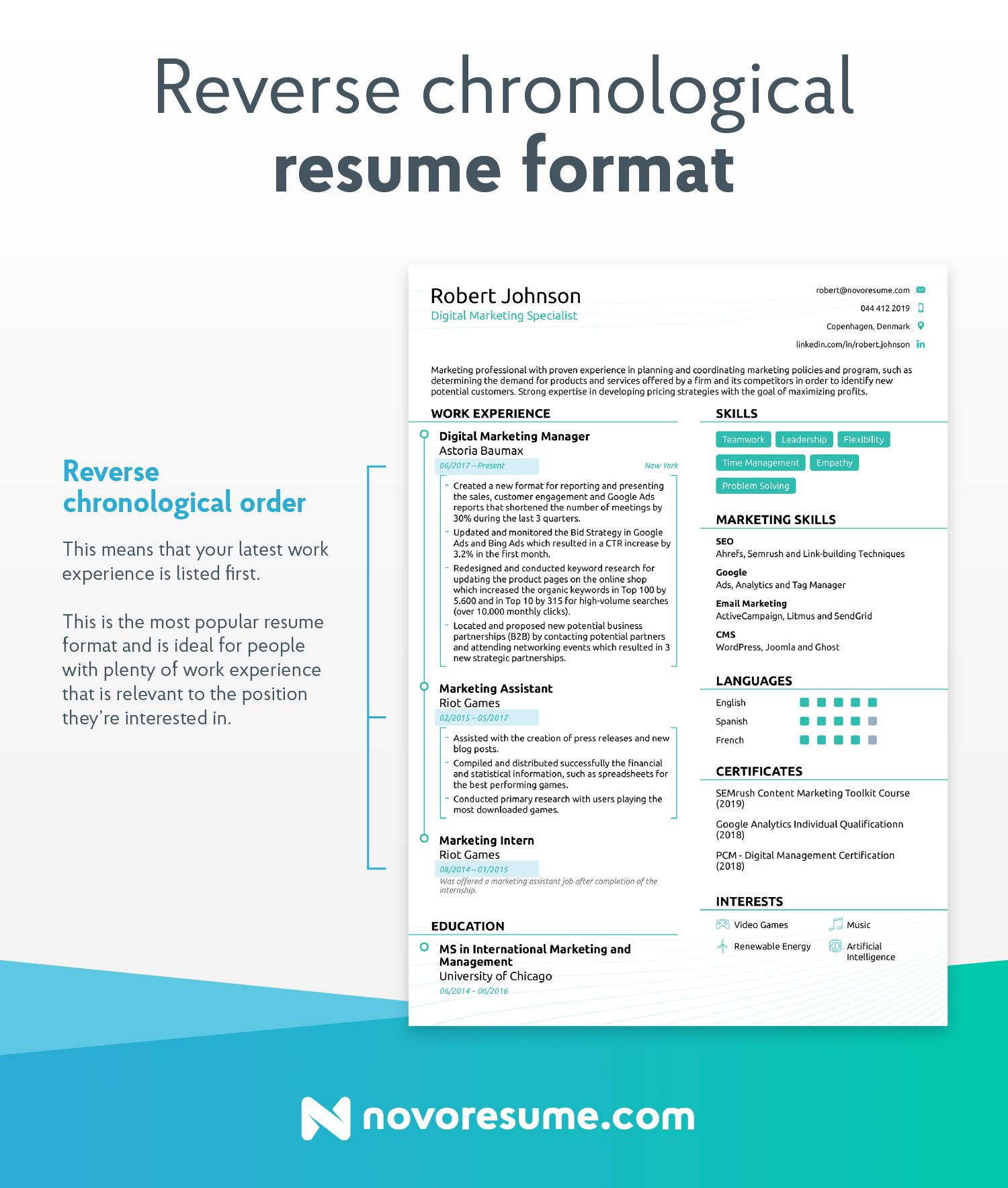 reverse chronological resume writing