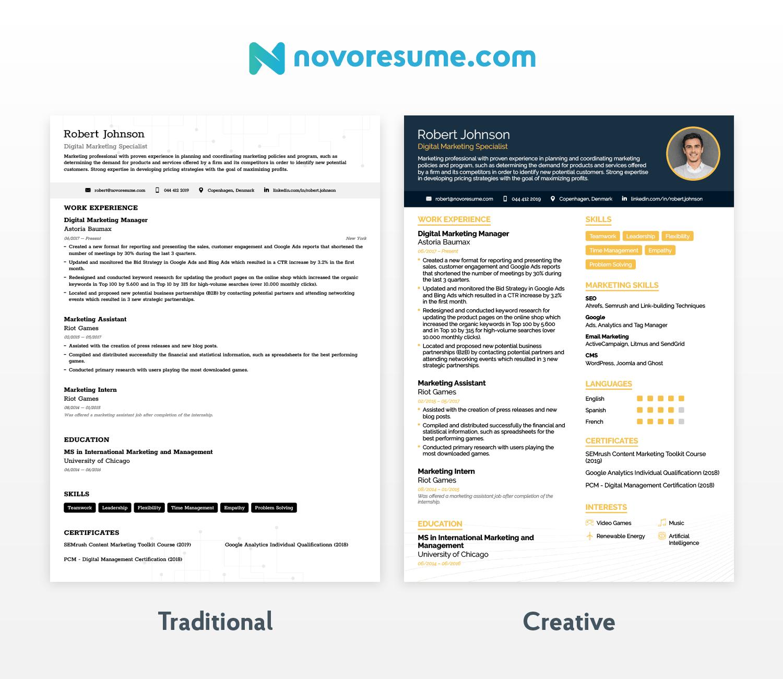 traditional vs modern resume